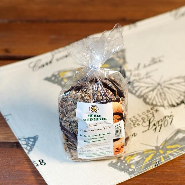 Dinkel - Knusperwaffeln m. Zartbitterschokolade